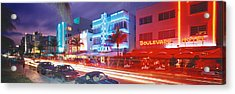 Ocean Drive, Miami Beach, Miami Acrylic Print by Panoramic Images