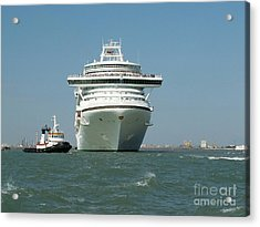 Ocean Liner And Boat Acrylic Print by Evgeny Pisarev