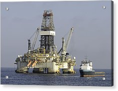 Acrylic Print featuring the photograph Ocean Oil Rig With Supply Boat by Bradford Martin