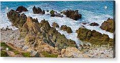 Acrylic Print featuring the digital art Ocean Rocks In Puerto Vallarta Mexico by Kenneth Montgomery