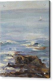 Ocean Rocks With Sailboat Acrylic Print