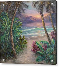 Ocean Sunrise Painting With Tropical Palm Trees  Acrylic Print