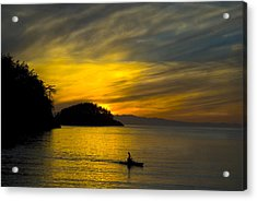 Ocean Sunset At Rosario Strait Acrylic Print