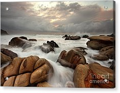 Ocean Surges Over Weathered Rocks Acrylic Print by Leah-Anne Thompson