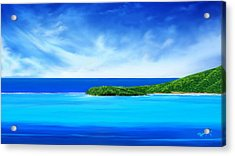 Acrylic Print featuring the digital art Ocean Tropical Island by Anthony Fishburne