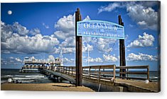 Ocean View Fishing Pier Color Acrylic Print by Williams-Cairns Photography LLC