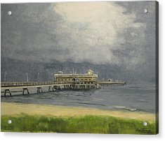 Acrylic Print featuring the painting Ocean View Pier by Stan Tenney