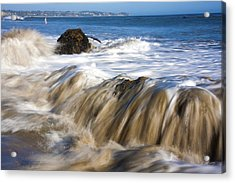 Ocean Waves Breaking Over The Rocks Photography Acrylic Print