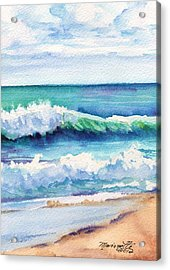 Acrylic Print featuring the painting Ocean Waves Of Kauai I by Marionette Taboniar