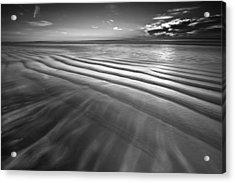 Ocean Waves Seascape Beach Sunrise Photograph In Black And White Acrylic Print