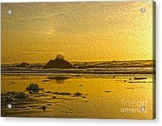 Ocean Yellow Acrylic Print by Nur Roy