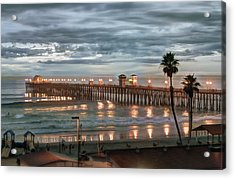 Oceanside Pier At Dusk Acrylic Print by Ann Patterson
