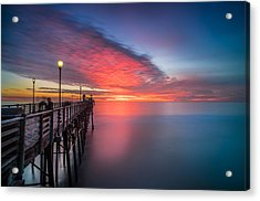 Oceanside Pier Sunset 16 Acrylic Print by Larry Marshall