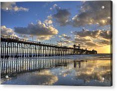 Oceanside Pier Sunset Reflection Acrylic Print by Peter Tellone