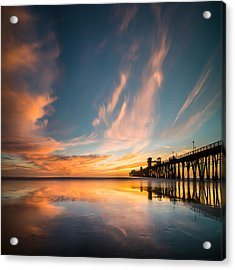 Oceanside Reflections 3 Square Acrylic Print by Larry Marshall