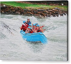 Acrylic Print featuring the painting Ocoee River Rafting by Mike Ivey