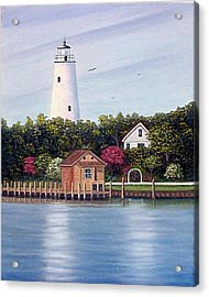 Ocracoke Island Light Acrylic Print by Fran Brooks