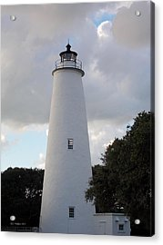 Ocracoke Lighthouse In The Clouds Acrylic Print by Tammy Wallace