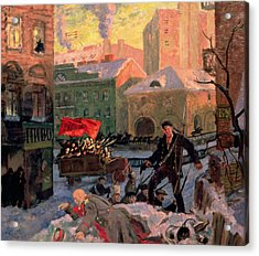 October 1917 In Petrograd Acrylic Print by Boris Mihajlovic Kustodiev