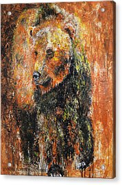 Abstract Bear Painting October Bear Acrylic Print by Jennifer Godshalk