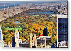 October Glow In Central Park Manhattan Skyline Acrylic Print
