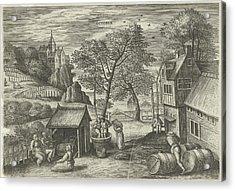 October, Julius Goltzius, Gillis Mostaert Acrylic Print by Julius Goltzius And Gillis Mostaert (i) And Hans Van Luyck