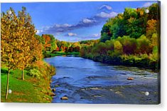 Acrylic Print featuring the painting October On The Cuyahoga by Dennis Lundell