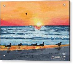 October Sunset On Siesta Key Florida Acrylic Print by J Linder