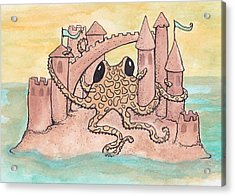 Octopus And Sandcastle Acrylic Print by Melissa Rohr Gindling