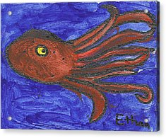 Octopus In The Deep Blue Acrylic Print by Fred Hanna