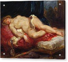 Odalisque Acrylic Print by Ferdinand Victor Eugene Delacroix