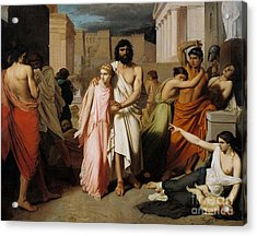 Oedipus And Antigone Or The Plague Of Thebes  Acrylic Print by Charles Francois Jalabert
