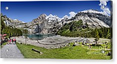 Acrylic Print featuring the photograph Oeschinen Lake by Carsten Reisinger