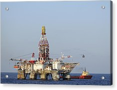 Off Shore Oil Rig With Helicopter And Boat Acrylic Print