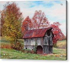 Off The Beaten Track-old Barn With Red Roof Acrylic Print