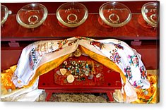 Acrylic Print featuring the photograph Offerings At The Foot Of The Buddha by Brenda Pressnall
