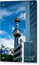 Office Building And Waste-to-energy Plant Vienna Acrylic Print by Stephan Pietzko