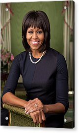 Official Portrait Of First Lady Michelle Obama Acrylic Print by Celestial Images
