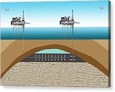 Offshore Oil Drilling Acrylic Print by Mikkel Juul Jensen