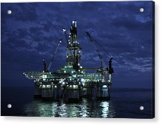 Offshore Oil Rig At Night Acrylic Print