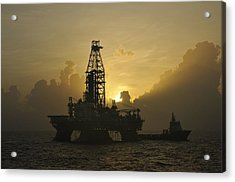 Acrylic Print featuring the photograph Offshore Oil Rig With Sun And Clouds by Bradford Martin