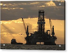 Offshore Rig At Dawn Acrylic Print