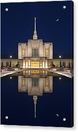 Ogden Temple Reflection Acrylic Print by Dustin  LeFevre