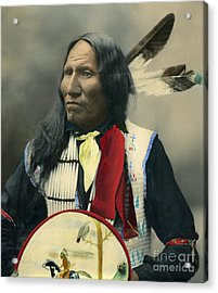 Acrylic Print featuring the photograph Oglala Chief Strikes With Nose 1899 by Heyn Photo