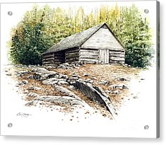 Acrylic Print featuring the painting Ogle Barn - 1880 by Bob  George