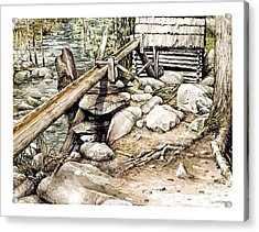 Ogle Grist Mill Acrylic Print by Bob  George