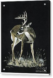 Acrylic Print featuring the painting Oh Deer.....listen by DiDi Higginbotham