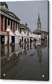 Oh So London - Rain Puddles And Reflections Acrylic Print by Georgia Mizuleva