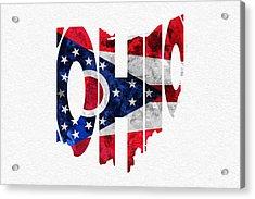 Ohio Typographic Map Flag Acrylic Print