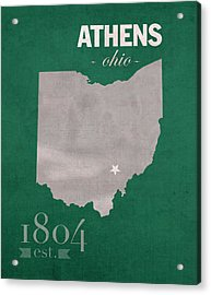 Ohio University Athens Bobcats College Town State Map Poster Series No 082 Acrylic Print
